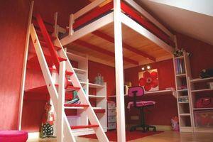 ABC MEUBLES - mezzanine manon 140/200 avec escalier de meunier - Mezzanine Bed