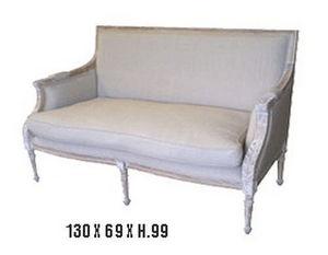 DECO PRIVE - banquette cerusee et tissu beige deco prive - 2 Seater Sofa