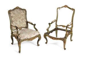 Galerie Jérôme Pla - paire de fauteuils louis xv à châssis - Flat Back Armchair