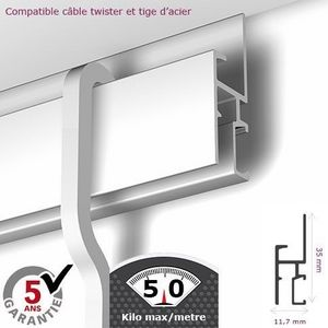 DECOHO - rail newly r30 - 200 cm (max 50kg/m) - Picture Rail