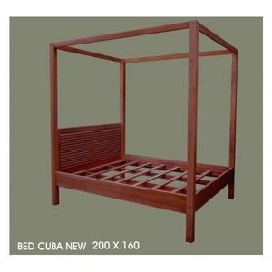 DECO PRIVE - lit baldaquin bois modele new - Double Canopy Bed