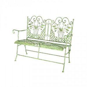 Demeure et Jardin - banc pliant fer forgé chêne - Garden Bench