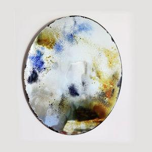 SLOW DESIGN - alice blue + gold - Hand Mirror
