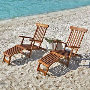 BOIS DESSUS BOIS DESSOUS - lot de 2 steamers en bois de teck huilé bali - Garden Deck Chair