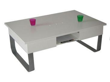 Table Apéro Dinatoire Liftable Coffee Table White Lacquer - Liftable table