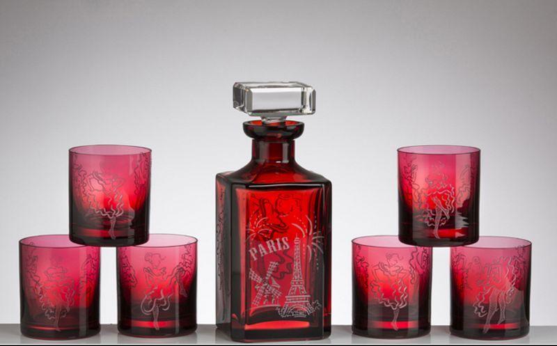 CRISTALLERIE DE MONTBRONN Dienst in Whisky Flaschen und Karaffen Glaswaren  |