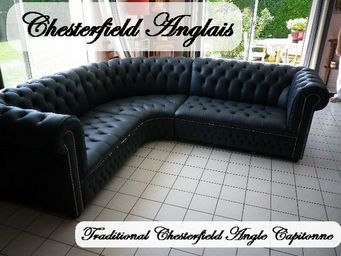 CHESTERFIELD ANGLAIS - chesterfield angle capitonné - Ecksofa