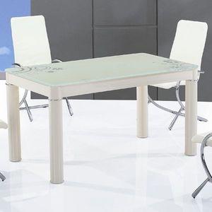 Smart Boutique Design - table en verre rectangle crème boreal - Rechteckiger Esstisch