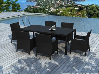 BARCLER - salon de jardin 6 places table et fauteuils en rés - Gartentisch