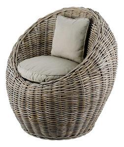 INWOOD - fauteuil boule kubu en rotin de bananier 78x72x78c - Gartensessel