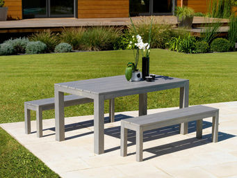 PROLOISIRS - ensemble campagne table et bancs gris laqué sérusé - Gartengarnitur