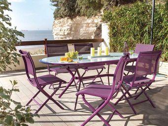 PROLOISIRS - salon 6 places élégance cassis en aluminium et tex - Garten Esszimmer