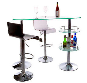 KOKOON DESIGN - bar design en verre et acier chromé 140x50,5x109,5 - Barhocker