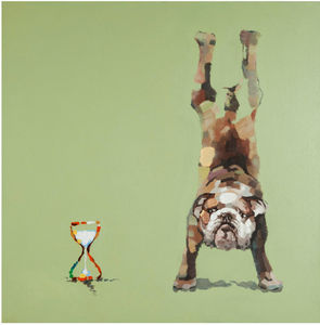 KOKOON DESIGN - toile peinte bouledogue time structure bois 100x10 - Dekobilder
