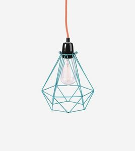 Filament Style - diamond 1 - suspension bleu câble orange ø18cm | l - Deckenlampe Hängelampe