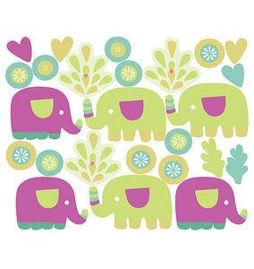 Wallies - stickers chambre bébé les petits éléphants - Kinderklebdekor