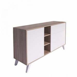 WHITE LABEL - buffet design scandinave prism 1 porte 3 tiroirs b - Anrichte