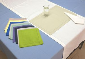 ITI  - Indian Textile Innovation - solid with hemstitch - Tischdecke Und Passende Servietten