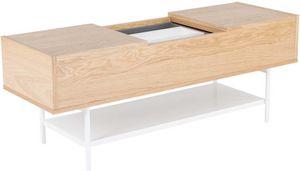 ZAGO - table basse plaqué chêne naturel et blanc laqué - Rechteckiger Couchtisch
