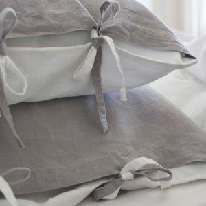 MAISON D'ETE - taie d'oreiller lin stone washed bicolore gris cla - Kopfkissenbezug