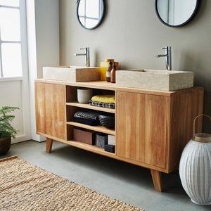 BOIS DESSUS BOIS DESSOUS - meuble de salle de bain en bois de teck 160 - 2 po - Badezimmermöbel