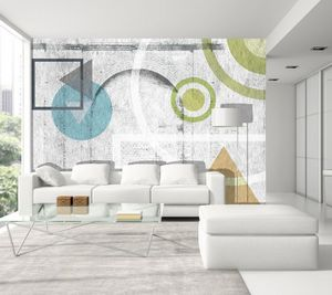 IN CREATION - géométrie couleurs sur briques - Tapete
