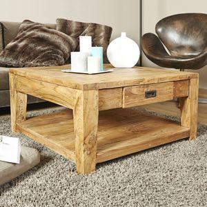 BOIS DESSUS BOIS DESSOUS - table basse en bois de teck recyclé 80 cargo - Couchtisch Quadratisch