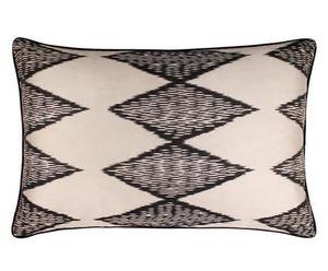 MAISON KHEL - silky ikat noir & blanc sumaï - Kissenbezug