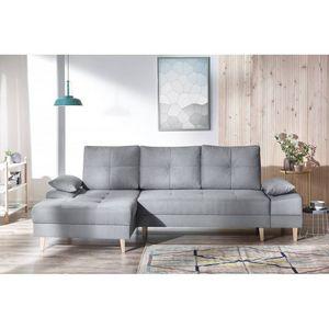 BOBOCHIC - canapé d'angle convertible avec coffre sven ii gris angle gauche - Andere Sofas