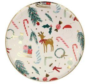 MERI MERI - festive motif - Pappteller Mit Weihnachtsmotiv