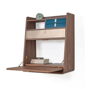 HARTÔ - gaston - secrétaire noyer tiroir laiton et bleu pé - Aufgehängter Schreibtisch