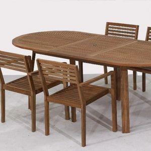 LE RÊVE CHEZ VOUS - salon de jardin bois teck - table rallonge 1,70m-2 - Gartengarnitur