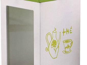 BARCLER - boîte à thé en bois vert et blanc 12x20x12cm - Teedose