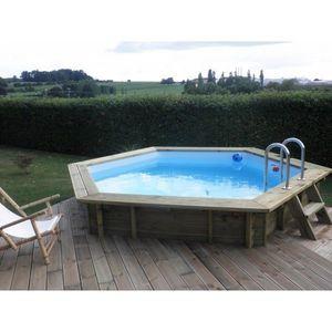 Aqualux - piscine bois enterrable ronde elora - 125m x 420 c - Pool Mit Holzumrandung
