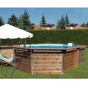 Christaline - piscine bois octogonale allonge classique gold 580 - Pool Mit Holzumrandung