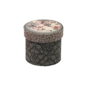 WHITE LABEL - boîte vintage choco en tissu couvercle matelassé m - Staukiste