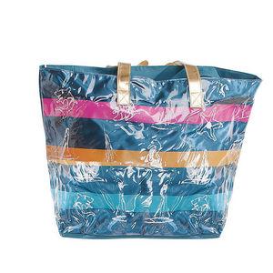 WHITE LABEL - grand sac cabas à rayures pochette unie fond rayé - Tasche