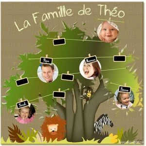 BABY SPHERE - arbre généalogique - amis de la jungle - 49,5x49,5cm - Kinder Stammbaum