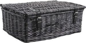 Aubry-Gaspard - valise de rangement en osier teinté gris 53x35x19c - Truhe