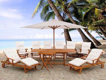 BELIANI - set avec beige coussins & parasol - Garten Esszimmer