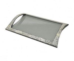 Demeure et Jardin - plateau à poignées laque grise et coquille d'oeuf - Tablett