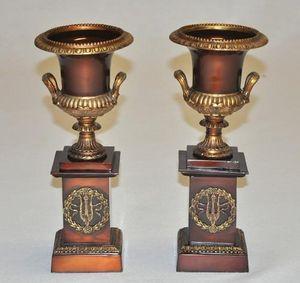 Demeure et Jardin - paire de cassolettes en bronze - Paar Töpfchen