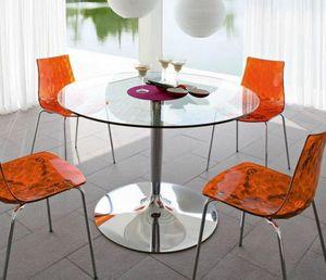 Calligaris - table repas ronde planet 120x120 en verre et piéte - Runder Esstisch