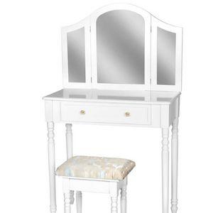 WHITE LABEL - coiffeuse avec miroir + tabouret inclus - Frisierkommode