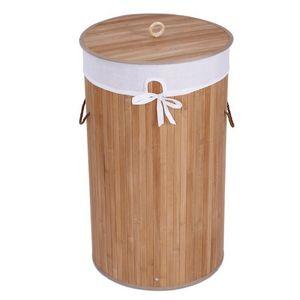 WHITE LABEL - panier corbeille à linge 48 l bambou - Wäschekorb