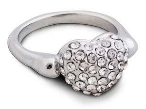 WHITE LABEL - splendide bague argentée en forme de c?ur avec str - Ring