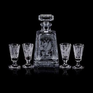TSAR IMPERIAL - gryphon & eagle pyramid vodka decanter set -