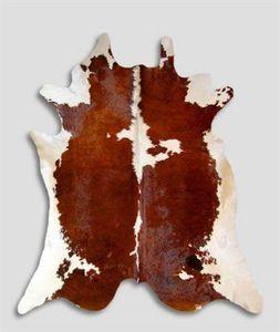 WHITE LABEL - tapis de peau de vache marron blanc naturel - Kuhfell