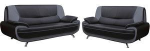 WHITE LABEL - ensemble de canapé 3+2 en simili cuir noir et gris - Sitzgruppe