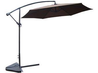 WHITE LABEL - parasol déporté chocolat 3 m - farniente - l 300 x - Ampelschirm